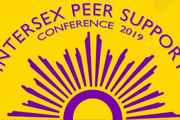 "Purple text and flag on a yellow background. The text states ""Intersex Peer Support conference 2019"""